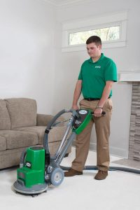 Chem-Dry technician cleaning carpet in Raleigh home