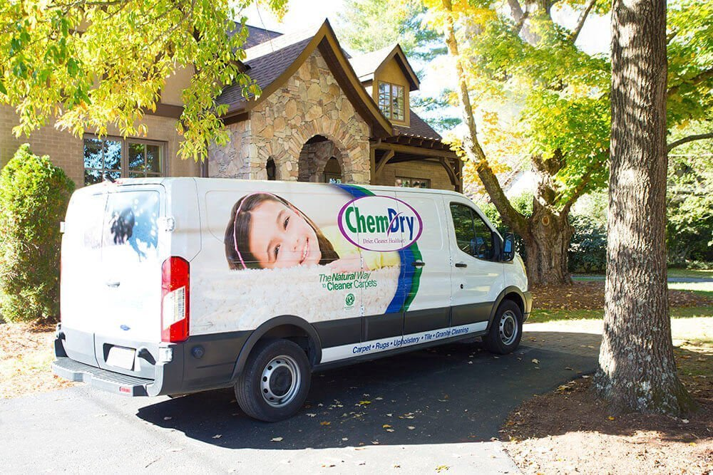 Chem-Dry of Wake County cleaning van parked in front of house in Raleigh